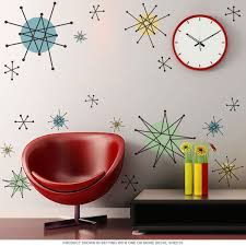 Atomic Starburst 50s Style Decals Large Set Of 9 Retro Wall Decor Retro Home Decor Wall Decor