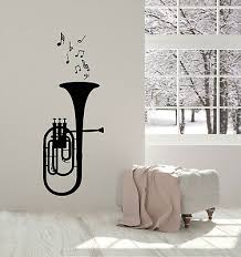Vinyl Wall Decal Trumpet Musical Notes Instrument Music Stickers Mural G3105 Ebay