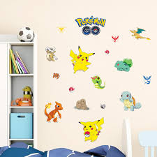 Cartoon Wall Art Pikachu Wallpaper Pokemon Go Wall Paper Decals For Kids Room Bedroom Sofa Background Home Decor Home Decor Wall Artpokemon Wall Decals Aliexpress