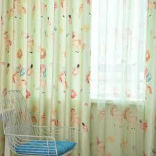 Girly Unicorn Horse Cream Light Yellow Children Window Curtains Drapes