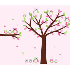 Pink And Green Owl Wall Decor With Tree Wall Art For Girls Rooms