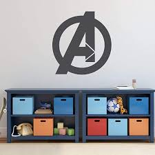 Amazon Com Avengers Vinyl Wall Decal Marvel Comics Superhero Logo Symbol Decoration For Boy S Or Girl S Bedroom Or Playroom Birthday Party White Black Gray Red Blue Pink Purple Other Colors Handmade