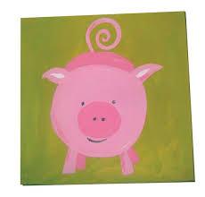 Kids Pig Painting On Canvas Farm Animal Art Boys Room Decor Etsy
