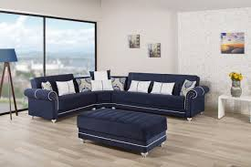 sectional sofa in dark blue fabric