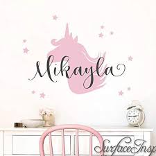 Amazon Com Name Wall Sticker Wall Decal Nursery Unicorn With Personalized Name Wall Decal Removable Nursery Wall Decals Stickers From Surface Inspired 1051 Handmade