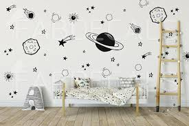 Space Wall Decals Outer Space Decal Space Wall Mural Planet Etsy Wall Decal Boys Room Boys Room Decor Kid Room Decor