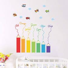 Amazon Com Vosarea Cartoon Color Pencil Wall Sticker Kindergarten Children Room Decoration Stickers Home Kitchen