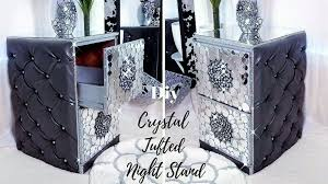 diy crystal tufted night stand room