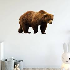 Vwaq Grizzly Bear Vinyl Wall Decal Brown Bear Sticker Wall Art Decor Mural Pas11 15 H X 22 W Walmart Com Walmart Com