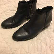 black leather petty ankle boots