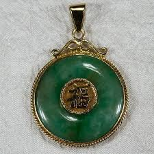 chinese jade disc pendant 14k gold