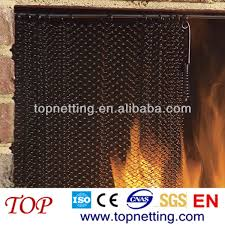 chain link mesh spark screen fireplace