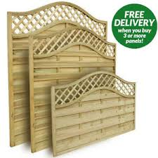 Forest Wooden Prague Decorative Curved Garden Trellis Fence Panels 6ft 5ft 4ft Ebay
