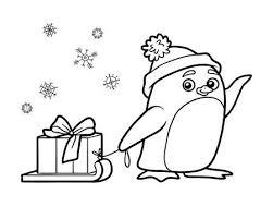 Zwart Wit Kleurplaat Overzicht Van Een Pinguin Een Belletje