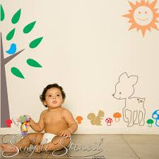 Fawn Wall Sticker Baby Nursery Wall Lettering Simple Stencils