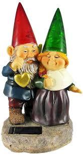 garden gnome couple solar light statue