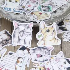 40 Pcs Lot Cute Hand Painted Cat Sticker Decal For Phone Car Case Waterproof Laptop Album Diary Backpack Kids Toy Stickers Stickers Aliexpress