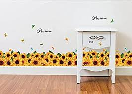 Amazon Com Home Find Baseboard Wall Decals Colorful Sunflowers Wall Stickers Butterflies Wall Decals Passion Baseboard Removable Diy Murals Home Kitchen Decors 54 Inches X 14 Inches Arts Crafts Sewing
