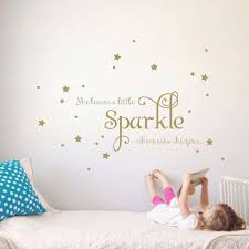 Amazon Com She Leaves A Little Sparkle Girls Room Vinyl Wall Decal Sticker Inspirational Quote With Stars Gold 15x36 Inches Home Kitchen