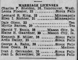 Argus Leader (Sioux Falls, SD)--12 Oct 1947--pg28--Dale Olson and Myrtle  Barnes--Marr Lic - Newspapers.com