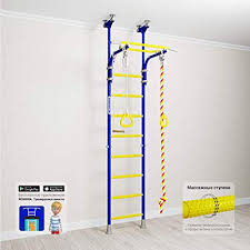 Amazon Com Comet 5 Childrens Indoor Home Gym Swedish Wall Playground Set For Kids With Gymnastic Rings Rope And Trapeze Bar Suit For Gyms Schools And Kids Room Sports Outdoors