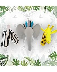 Discover Deals On Stuffed Animal Heads For Wall Elephant Zebra And Giraffe Safari Animals Wall Mount Animal Heads Wall Mount For Safari Nursery Or Kids Room