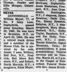 Obituary for William MEYER, 1904-1982 (Aged 77) - Newspapers.com
