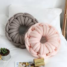Idouillet New Decorative Knot Throw Pillow Round Doughnuts Candy Knotted Floor Cushion Nursery Kids Room Decor Pink Grey Blue Decorative Pillows Aliexpress