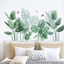 Tropical Monstera Leaf Wall Sticker Dragonfly And Birds Natural Botany Wall Mural Living Room Wall Decor Greenery Peel Stick Plant Decal Thefuns On Artfire