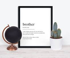 Brother Definition Prints Wall Art Print Quote Print | Etsy