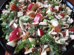 summer broccoli apple almond salad