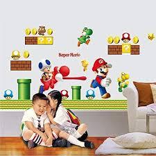 Amazon Com Nexxa Super Mario Bros Kids Removable Wall Sticker Decals Nursery Home Decor Vinyl Mural For Boy Bedroom Living Room Mural Art Home Kitchen