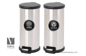 Recycle And Trash Logo Symbol Elegant Gold Or Silver Look For Trash Cans Containers And Walls Vinyl Decal Sticker 2554