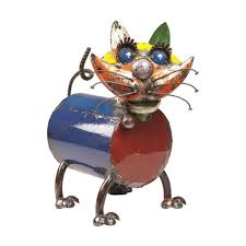 recycled metal cat garden ornament