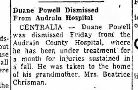 Duane Powell dismissed from Audrain Hospital to home of grandmother  Beatrice Chrisman - Newspapers.com
