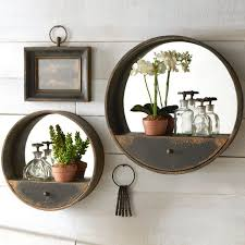 metal wall mirror with shelf and drawer