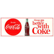 Coca Cola Things Go Better With Coke 1960s Wall Decal Restaurant Kitchen Decor Ebay