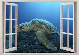 Loggerhead Turtle Wall Sticker 3d Window Aretta Caretta Wall Etsy