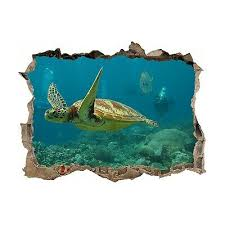 Sea Turtle Theme 3d Hole In The Wall Effect Wall Sticker Art Decal Mural Ebay
