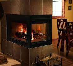 inch three sided wood burning fireplace