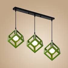 cube shade hanging lamp 3 heads antique
