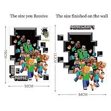 Kitcheasy 1 Pcs Wall Stickers Mosaic Game Theme Minecraft Wall Stickers For Kids Room Home Decoration 3d Window Pvc Steve Mural Art Diy Boys Wall Decal Poster Toys Games Wall Stickers