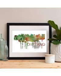 Amazing Deal On Oakland Watercolor Skyline Art Poster Print Map Wall Art