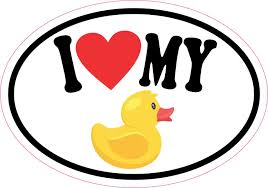 Stickertalk I Love My Rubber Duck Vinyl Sticker 5 Inches X 3 5 Inches Stickertalk
