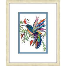 multi color hummingbird framed wall art