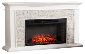faux stacked stone electric fireplace