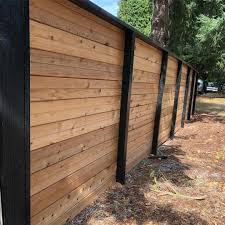 Horizontal Fence With Black Frame Black Posts Horizontal Fence Fence Design Building A Fence
