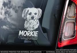 Morkie On Board Car Window Sticker Yorkshire Terrier Etsy