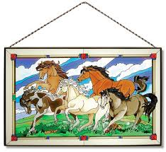 wild horses glass art panel 16 4775