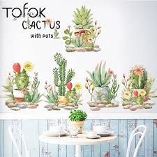 Tofok Cactus Wall Stickers For Kids Room Baby Nursery Living Room Bedroom Wall Decals Home Decor Art Succulent Cacti Wallpaper Wall Stickers Aliexpress